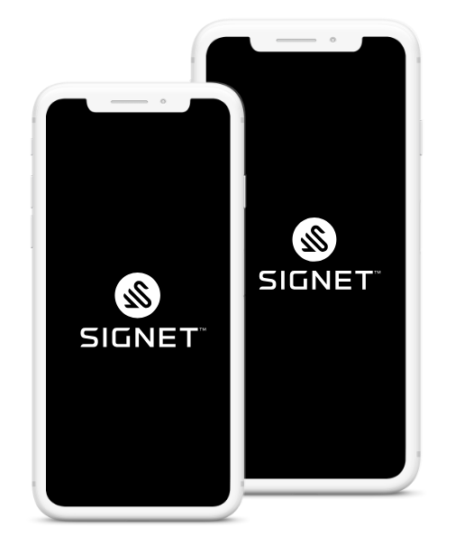 Signet logo on a group of phones